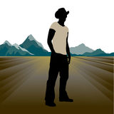 Cowboy. On the road vector illustration Stock Photography