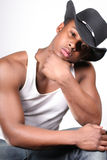 Cowboy. An African Amewrican male wearing a cowboy hat Royalty Free Stock Images