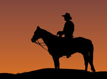 Cowboy. On horse at sunset Stock Image