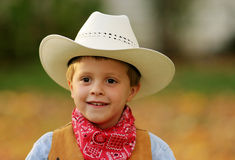 Cowboy 2. Frontal view of a cute little cowboy, up close royalty free stock photo