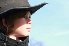Cowboy. Face of a little boy with cowboy hat Stock Photography