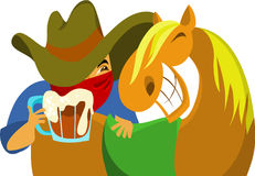 Cowboy. With the horse and glass of beer Royalty Free Stock Images