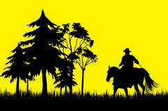 Cowboy. The cowboy on a horse on a yellow background Royalty Free Stock Photography