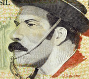The Cowboy. Cowboy portrait from south Brazil on 5000 Cruzeiros Reais Banknote Royalty Free Stock Image