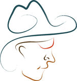 Cowboy. Abstract modern cowboy isolated on white Royalty Free Stock Images