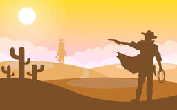 Cowboy action. Illustration  of man hold gun and shooting in desert landscape, cowboy silhouette concept Royalty Free Stock Image