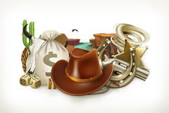 Cowboy Adventure. Game logo. 3d vector emblem Stock Photos