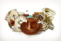 Cowboy Adventure Logo de jeu emblème du vecteur 3d Image stock