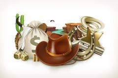 Cowboy Adventure Spiellogo Emblem des Vektors 3d Stockfotos