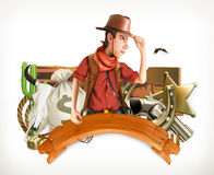 Cowboy Adventure. Western retro style. 3d vector emblem Stock Photos