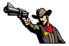 Cowboy aiming the gun. Vector of cowboy aiming the gun Royalty Free Stock Image
