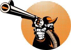 Cowboy aiming a pistol gun Royalty Free Stock Image