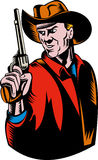 Cowboy aiming pistol gun. Illustration of a Cowboy aiming pistol gun on white background Royalty Free Stock Images