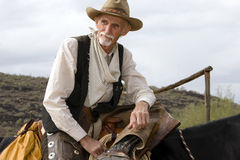 Cowboy americano occidentale del Cowhand anziano Fotografia Stock Libera da Diritti