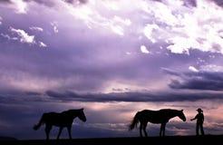 Cowboy & i suoi cavalli Fotografie Stock Libere da Diritti