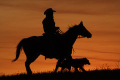 Free Cowboy And Dog Silhouette Royalty Free Stock Photography - 5306497