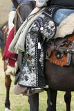 Cowboy from the Andes wearing chaps. June 3, 2017 Machachi, Ecuador: cowboy from the Andes called `chagra` on horseback wearing traditional chaps royalty free stock photography