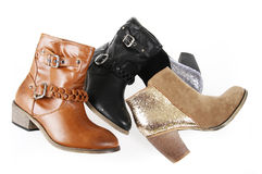 Cowboy ankle boots collections isolated on white Stock Photography