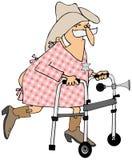 Cowboy anziano che usando un camminatore Fotografie Stock Libere da Diritti