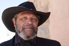 Cowboy anziano Outlaw Character di selvaggi West immagine stock
