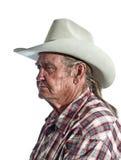 Cowboy aposentado que reflete sobre eventos passados imagens de stock