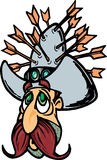 Cowboy with arrows in hat. Cowboy with arrows in large cowboy hat Royalty Free Stock Image