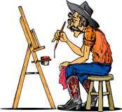 Cowboy artist. Cowboy painting with an easel Royalty Free Stock Photos