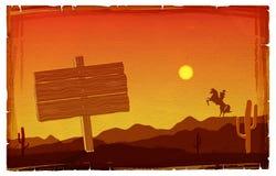 Cowboy At Sunset. Stock Photos