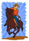 Cowboy auf Pferderuecken Lasso vektor abbildung