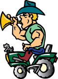 Cowboy auf Traktor Stockfoto