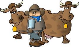 Cowboy avec du fer de marquage à chaud d'A Images libres de droits
