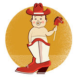 Cowboy baby in western boot Stock Image