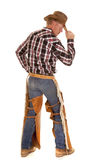 Cowboy from back hold hat profile Royalty Free Stock Photos