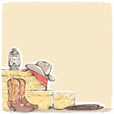 Cowboy background with western boots and west hat. Stock Image
