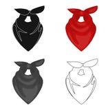Cowboy bandana icon in cartoon style  on white background. Rodeo symbol stock vector illustration. Stock Photography