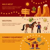 Cowboy banners flat Stock Image