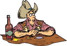 Cowboy at Bar. Caowboy with big hat drinking at bar Royalty Free Illustration