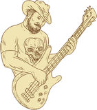 Cowboy Bass Guitar Isolated Drawing Stock Photo