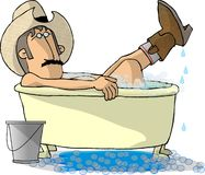 Cowboy Bath. This illustration that I created depicts a cowboy in a bathtub with his boots and hat on Stock Photos