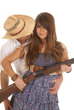 Cowboy behind woman with gun behind hat Stock Images