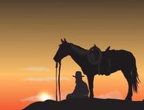 Cowboy bij zonsondergang vector illustratie