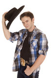 Cowboy with black hat in hand by head Royalty Free Stock Photography