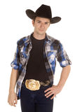 Cowboy with black hat stand with smile Stock Image
