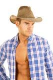 Cowboy blue plaid shirt close look side Stock Image
