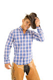Cowboy blue plaid shirt hat by head smile Royalty Free Stock Photos