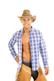 Cowboy blue plaid shirt open smile Royalty Free Stock Photo