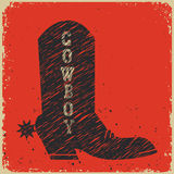 Cowboy boot background.Vector red card Stock Photo