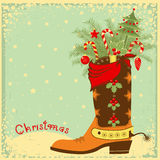 Cowboy boot with Christmas elements Stock Photography