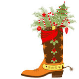 Cowboy boot with Christmas elements isolated on wh Stock Photos
