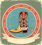 Cowboy boot label on old paper vector illustration
